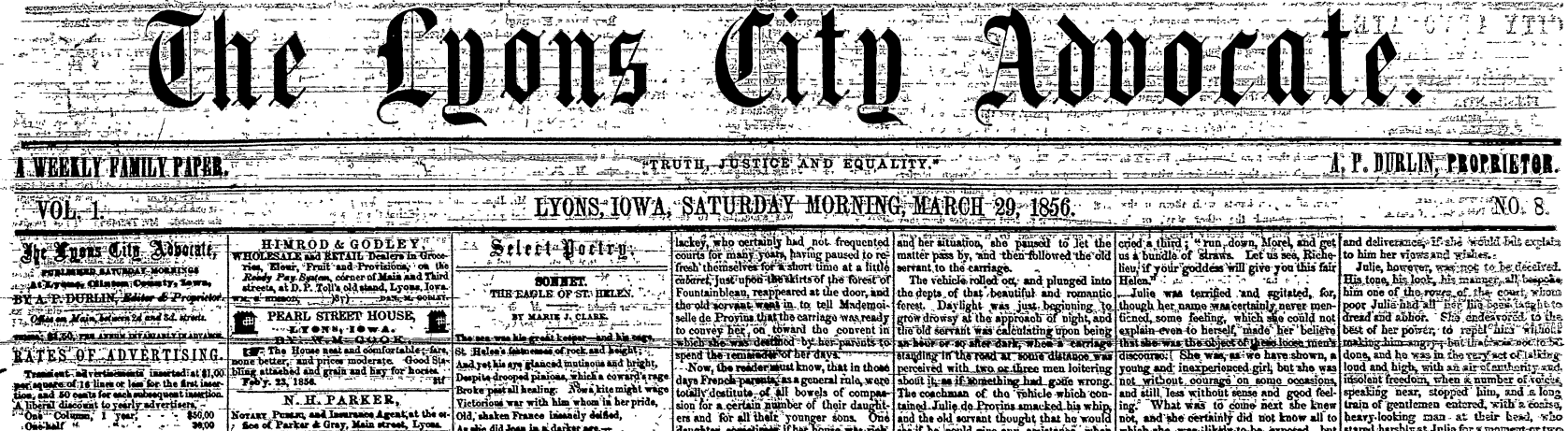 Clinton Area Newspapers From 1856 -1927 Available Online