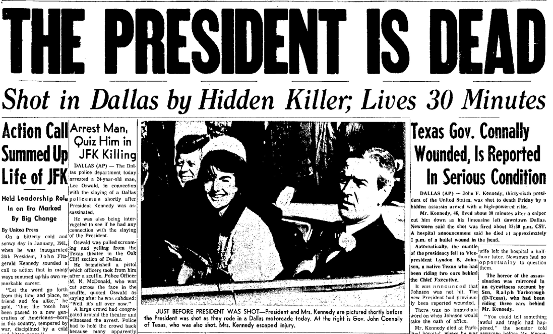 a history of the killing of john f kennedy John f kennedy assassinated john fitzgerald kennedy, the 35th president of the united states, is assassinated while traveling through dallas, texas , in an open-top convertible.